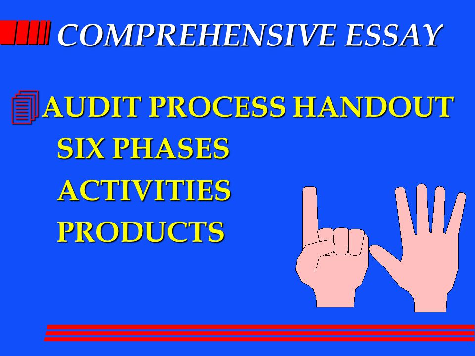 COMPREHENSIVE ESSAY 4 AUDIT PROCESS HANDOUT SIX PHASES ACTIVITIESPRODUCTS