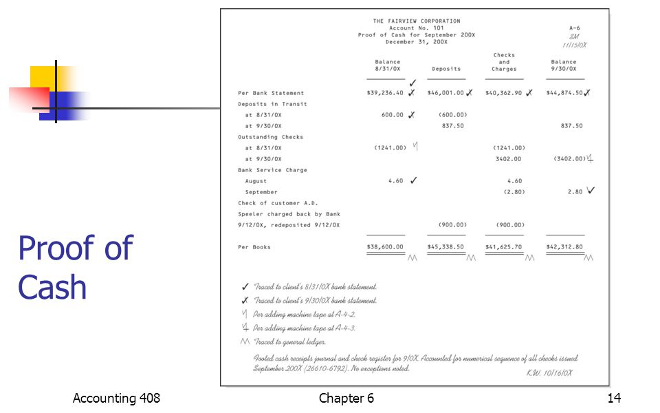 Proof of Cash Accounting 40814Chapter 6