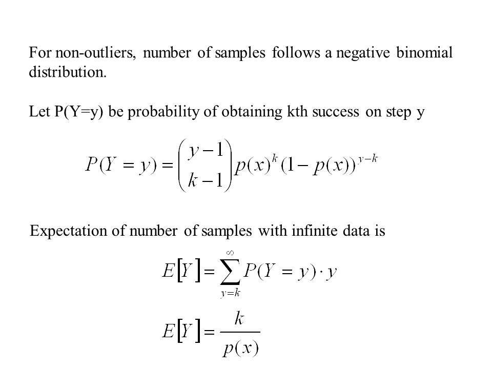 For non-outliers, number of samples follows a negative binomial distribution.