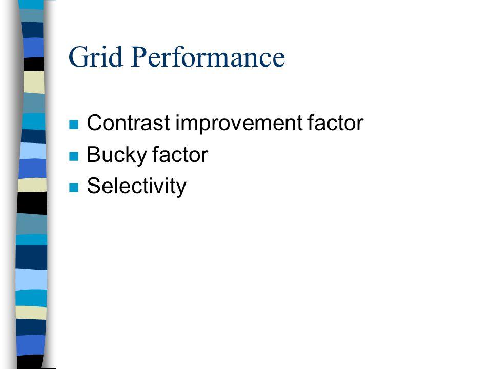 Grid Performance n Contrast improvement factor n Bucky factor n Selectivity