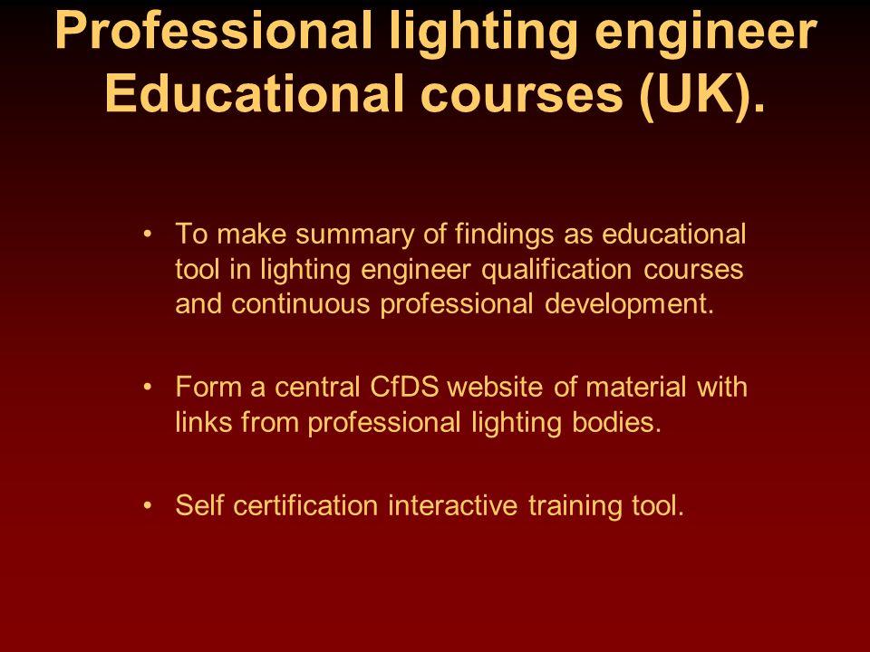 Professional lighting engineer Educational courses (UK).
