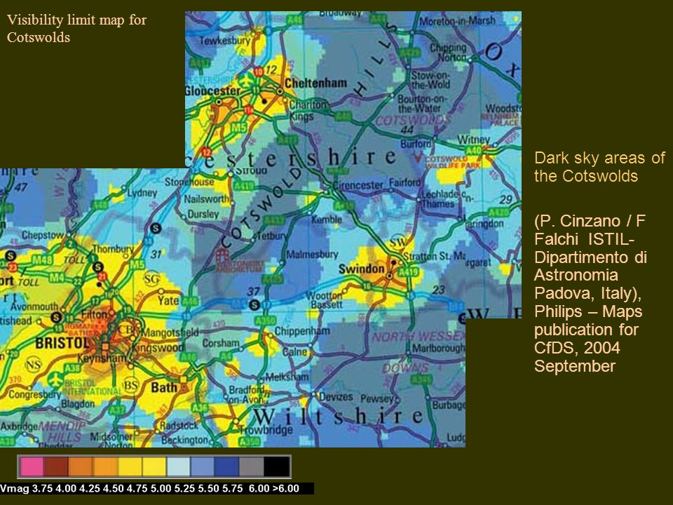 Visibility limit map for Cotswolds Dark sky areas of the Cotswolds (P. Cinzano / F Falchi ISTIL- Dipartimento di Astronomia Padova, Italy), Philips –
