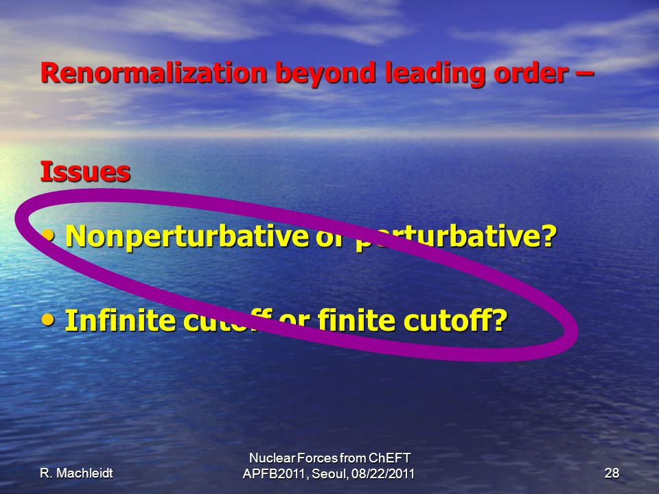 R. Machleidt Nuclear Forces from ChEFT APFB2011, Seoul, 08/22/201128 Nonperturbative or perturbative? Nonperturbative or perturbative? Infinite cutoff
