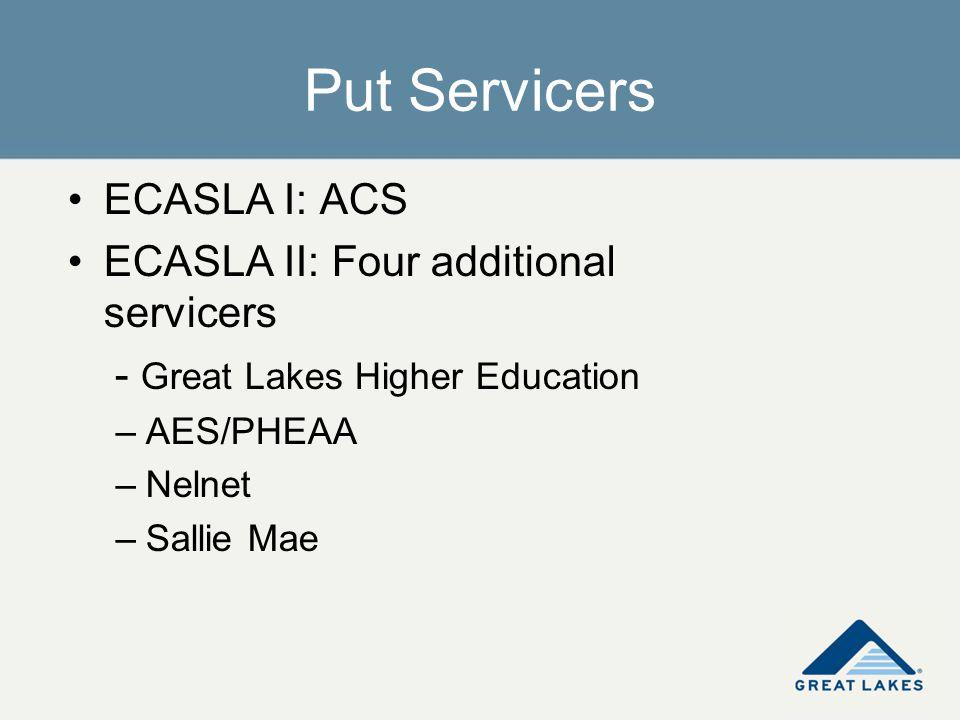 Put Servicers ECASLA I: ACS ECASLA II: Four additional servicers - Great Lakes Higher Education –AES/PHEAA –Nelnet –Sallie Mae