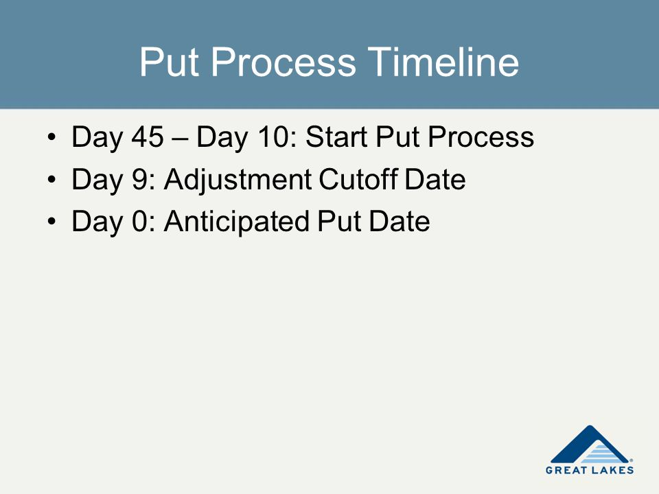 Day 45 – Day 10: Start Put Process Day 9: Adjustment Cutoff Date Day 0: Anticipated Put Date