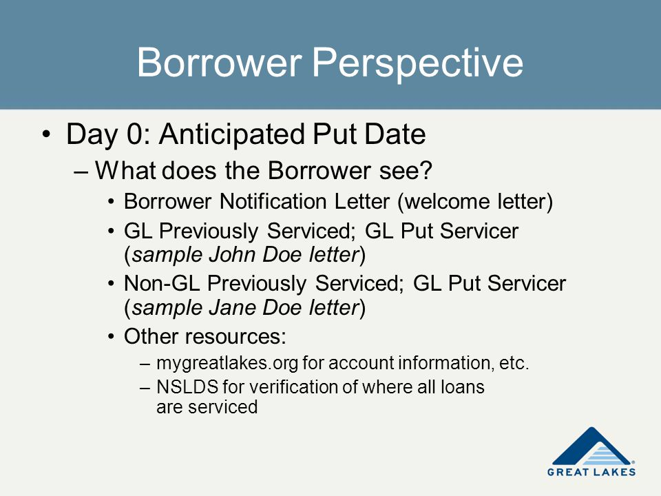 Borrower Perspective Day 0: Anticipated Put Date –What does the Borrower see? Borrower Notification Letter (welcome letter) GL Previously Serviced; GL