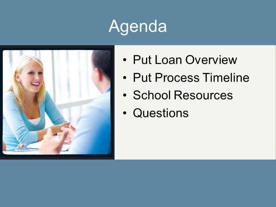Agenda Put Loan Overview Put Process Timeline School Resources Questions
