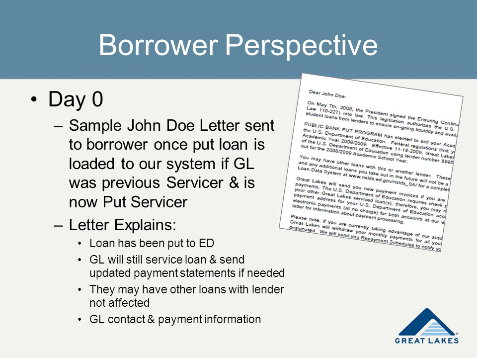 Borrower Perspective Day 0 –Sample John Doe Letter sent to borrower once put loan is loaded to our system if GL was previous Servicer & is now Put Ser