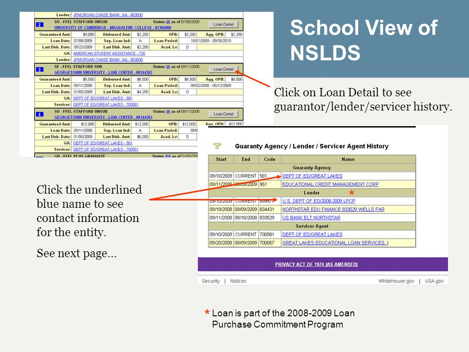 Click on Loan Detail to see guarantor/lender/servicer history. * * Loan is part of the 2008-2009 Loan Purchase Commitment Program Click the underlined