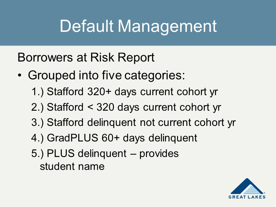 Default Management Borrowers at Risk Report Grouped into five categories: 1.) Stafford 320+ days current cohort yr 2.) Stafford < 320 days current coh