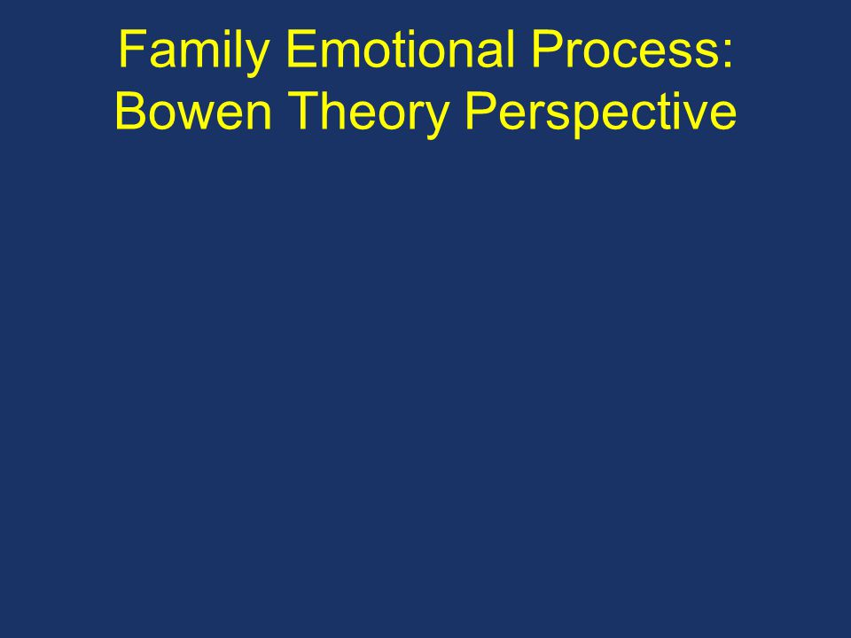 Family Emotional Process: Bowen Theory Perspective