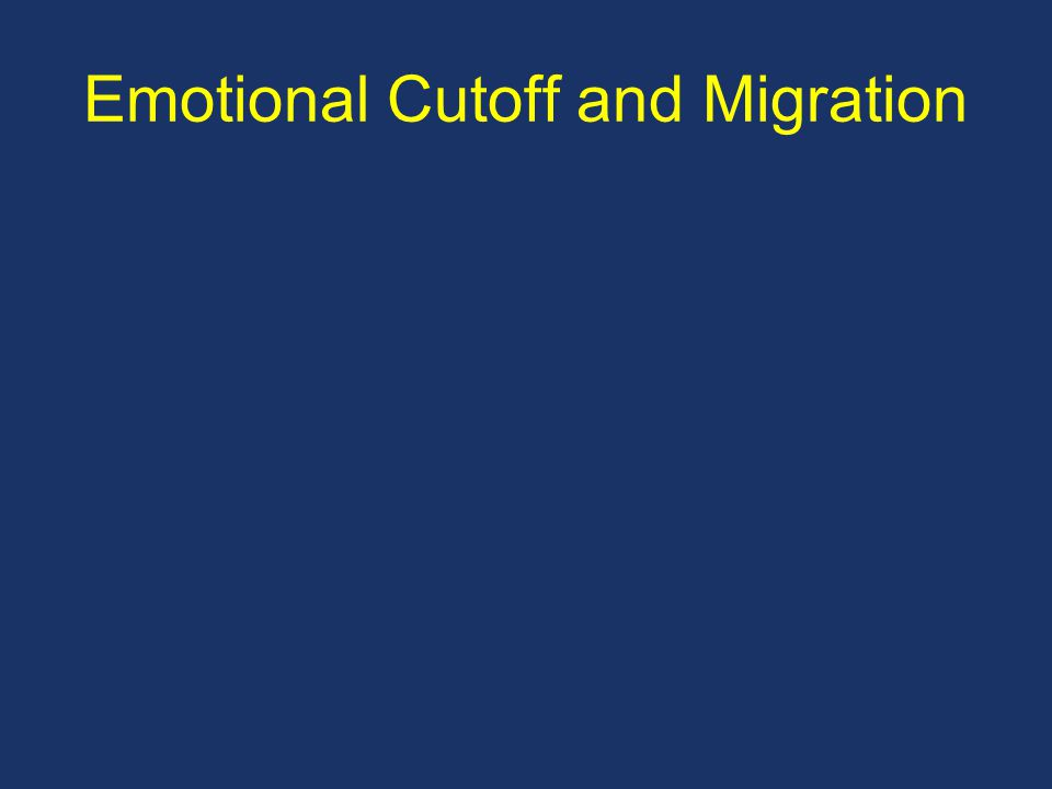 Emotional Cutoff and Migration