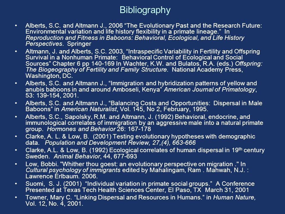 Bibliography Alberts, S.C.