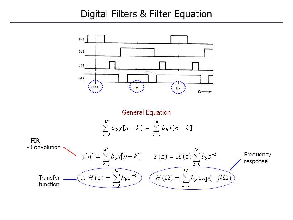 Digital Filters & Filter Equation General Equation Transfer function Frequency response - FIR - Convolution