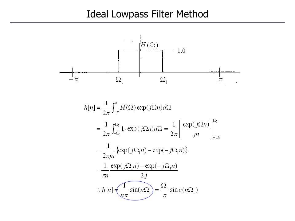 1.0 Ideal Lowpass Filter Method