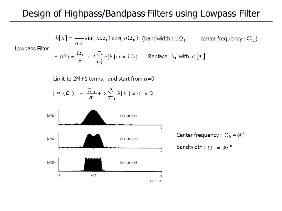 Limit to 2M+1 terms, and start from n=0 (bandwidth : center frequency : ) Center frequency : bandwidth : Lowpass Filter Replace with Design of Highpas
