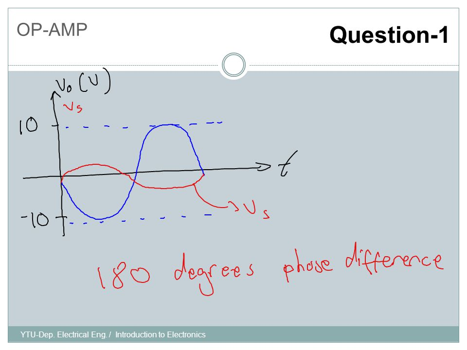 YTU-Dep. Electrical Eng. / Introduction to Electronics OP-AMP Question-1