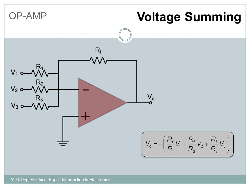 OP-AMP Voltage Summing YTU-Dep. Electrical Eng. / Introduction to Electronics