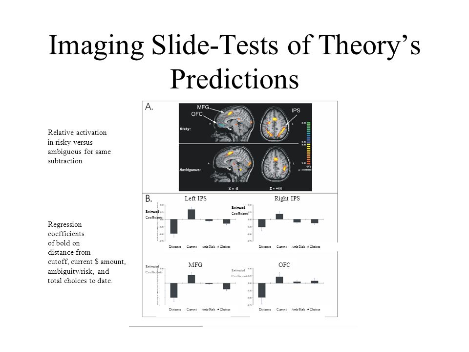 Imaging Slide-Tests of Theory's Predictions Relative activation in risky versus ambiguous for same subtraction Regression coefficients of bold on distance from cutoff, current $ amount, ambiguity/risk, and total choices to date.