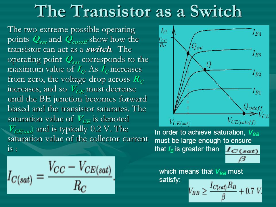 The Transistor as a Switch The two extreme possible operating points Q sat and Q cutoff show how the transistor can act as a switch.