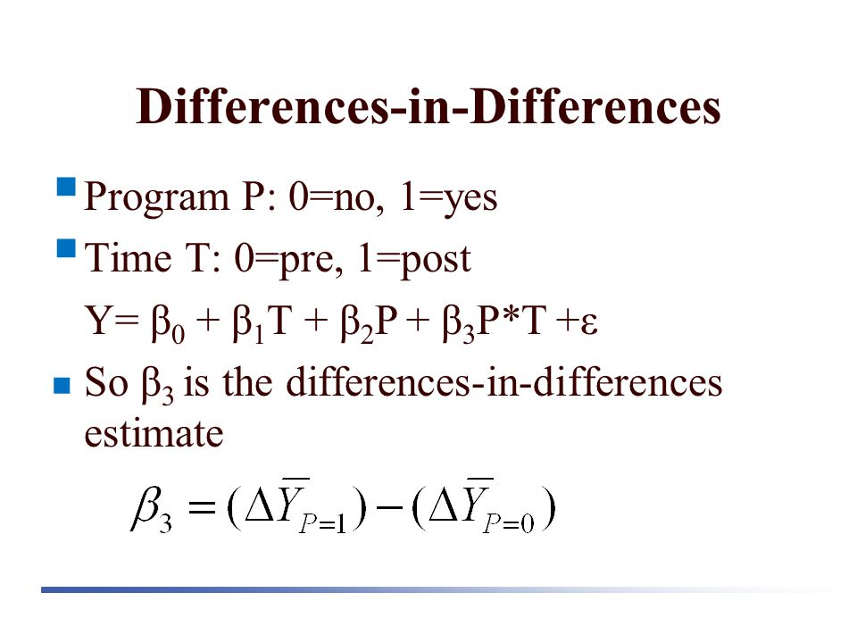 Differences-in-Differences  Program P: 0=no, 1=yes  Time T: 0=pre, 1=post Y= β 0 + β 1 T + β 2 P + β 3 P*T +ε So β 3 is the differences-in-differenc