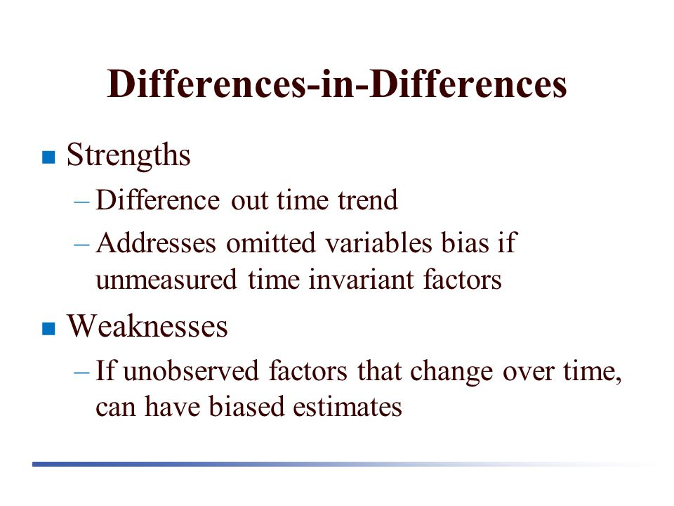 Differences-in-Differences Strengths –Difference out time trend –Addresses omitted variables bias if unmeasured time invariant factors Weaknesses –If