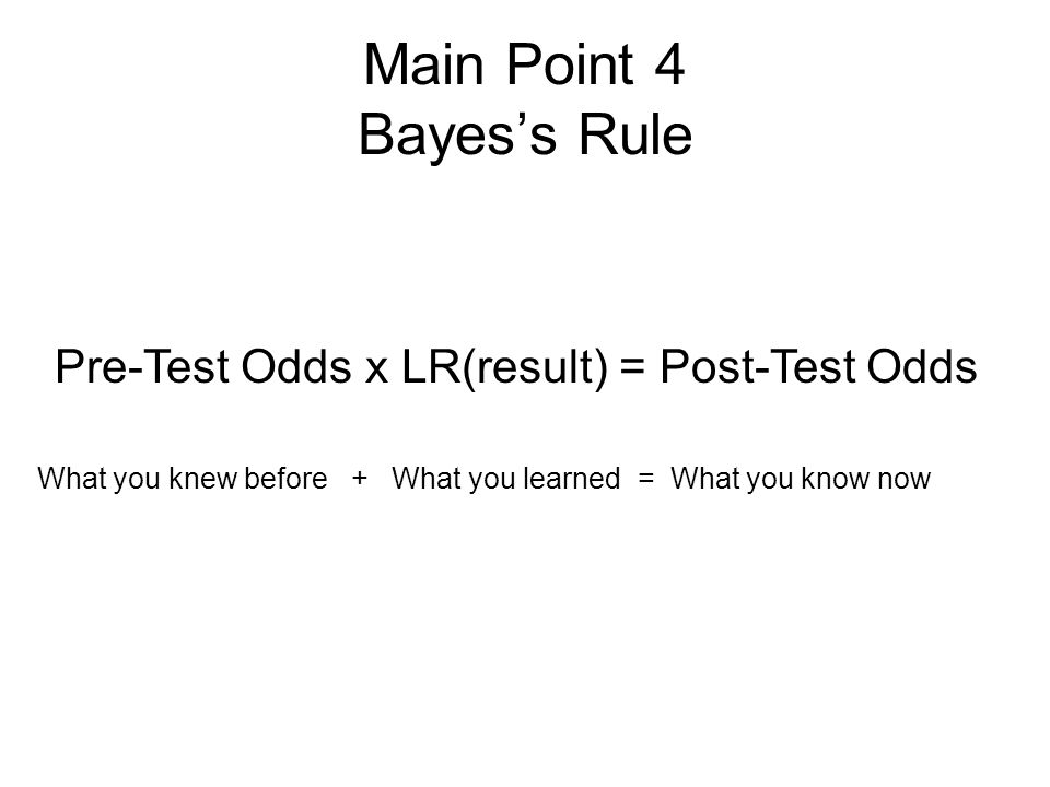 Main Point 4 Bayes's Rule Pre-Test Odds x LR(result) = Post-Test Odds What you knew before + What you learned = What you know now