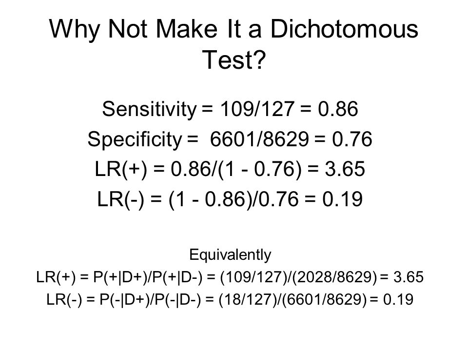 Why Not Make It a Dichotomous Test.
