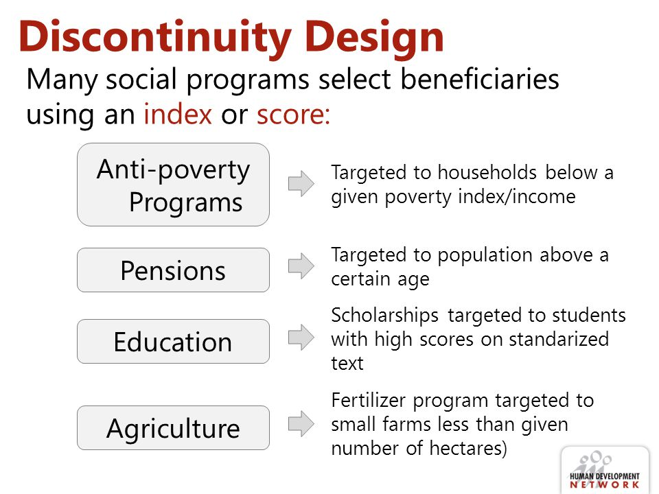 Discontinuity Design Anti-poverty Programs Pensions Education Agriculture Many social programs select beneficiaries using an index or score: Targeted to households below a given poverty index/income Targeted to population above a certain age Scholarships targeted to students with high scores on standarized text Fertilizer program targeted to small farms less than given number of hectares)