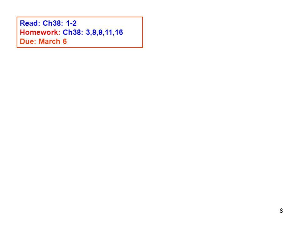 8 Read: Ch38: 1-2 Homework: Ch38: 3,8,9,11,16 Due: March 6