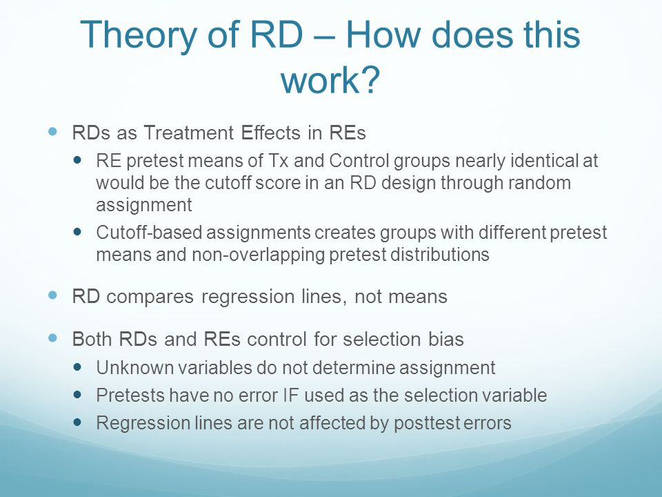 Theory of RD – How does this work.