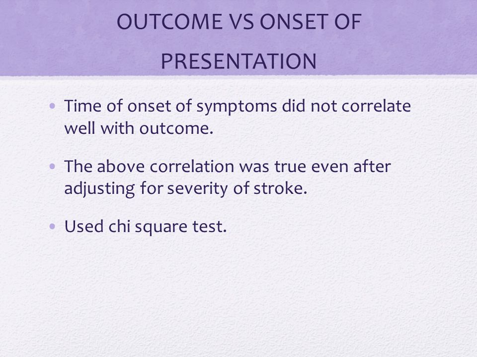 OUTCOME VS ONSET OF PRESENTATION Time of onset of symptoms did not correlate well with outcome.