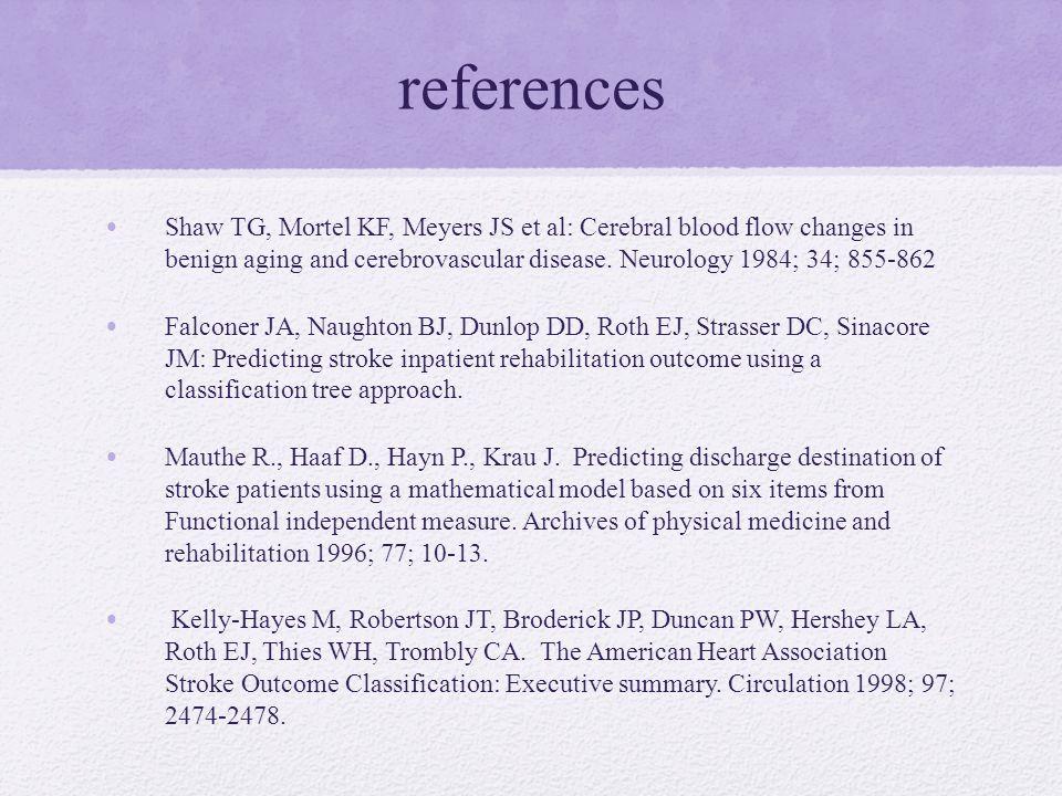 references Shaw TG, Mortel KF, Meyers JS et al: Cerebral blood flow changes in benign aging and cerebrovascular disease.
