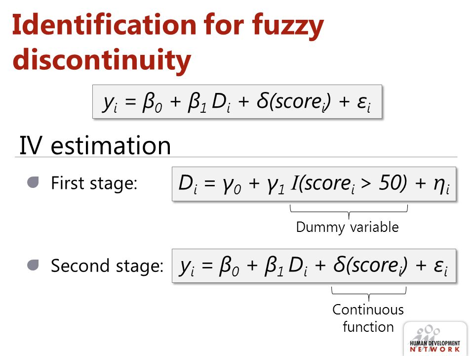 Identification for fuzzy discontinuity y i = β 0 + β 1 D i + δ(score i ) + ε i First stage: D i = γ 0 + γ 1 I (score i > 50) + η i y i = β 0 + β 1 D i + δ(score i ) + ε i Second stage: IV estimation Dummy variable Continuous function