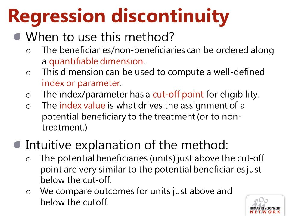 Regression discontinuity analysis Where is the discontinuity in the regression.