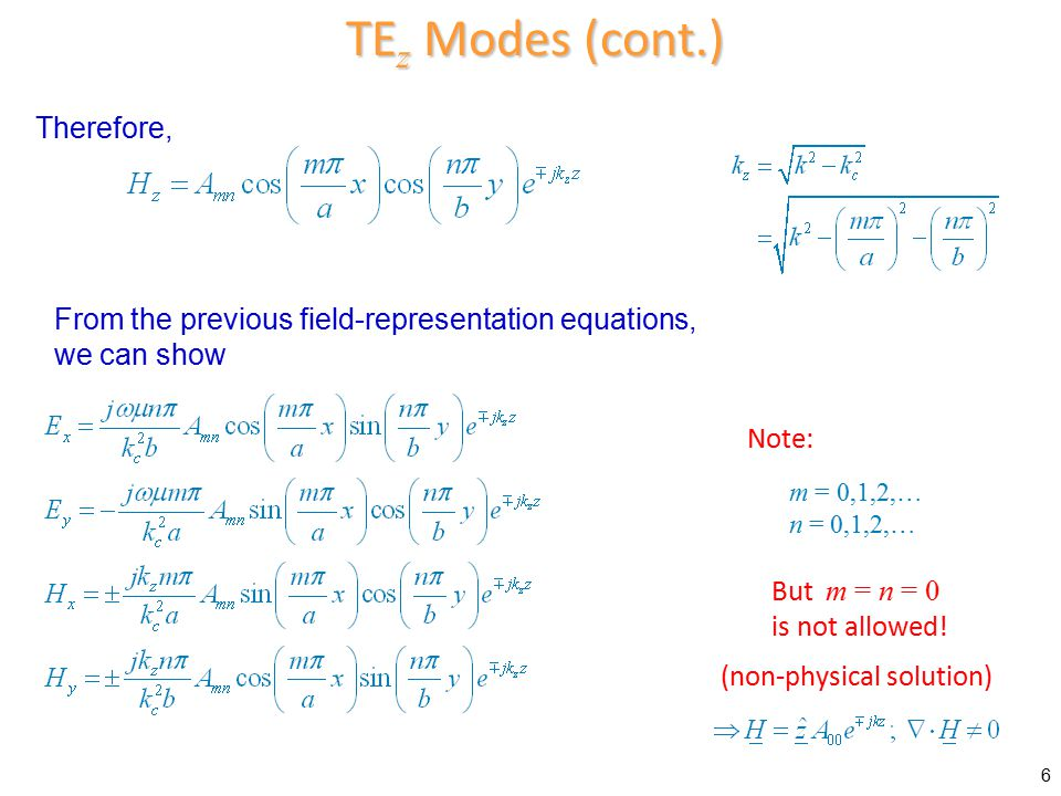  TE mn mode is at cutoff when Lossless Case Lowest cutoff frequency is for TE 10 mode ( a > b ) Dominant TE mode (lowest f c ) We will revisit this mode.