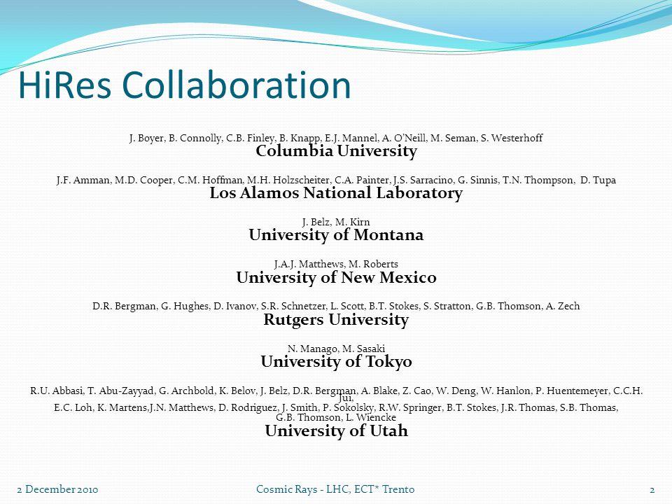 HiRes Collaboration J. Boyer, B. Connolly, C.B. Finley, B.