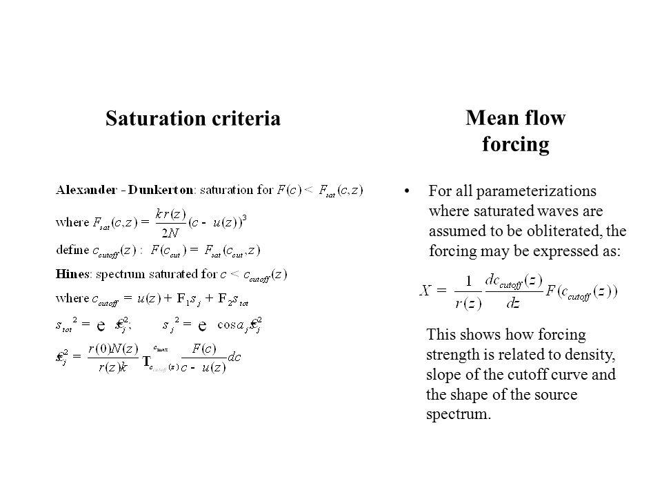 Mean flow forcing For all parameterizations where saturated waves are assumed to be obliterated, the forcing may be expressed as: This shows how forcing strength is related to density, slope of the cutoff curve and the shape of the source spectrum.