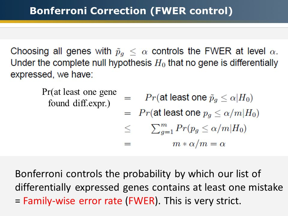 Bonferroni Correction (FWER control) Pr(at least one gene found diff.expr.) Bonferroni controls the probability by which our list of differentially expressed genes contains at least one mistake = Family-wise error rate (FWER).