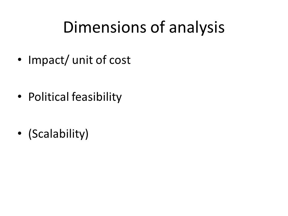 Dimensions of analysis Impact/ unit of cost Political feasibility (Scalability)