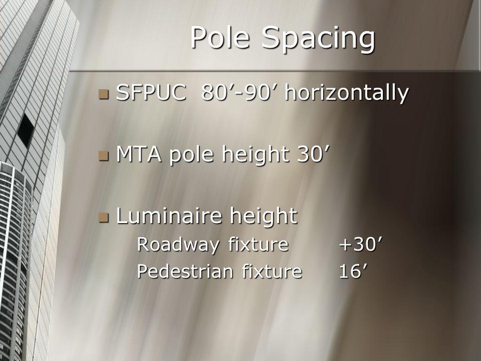 Pole Spacing SFPUC 80'-90' horizontally SFPUC 80'-90' horizontally MTA pole height 30' MTA pole height 30' Luminaire height Luminaire height Roadway fixture+30' Pedestrian fixture 16'