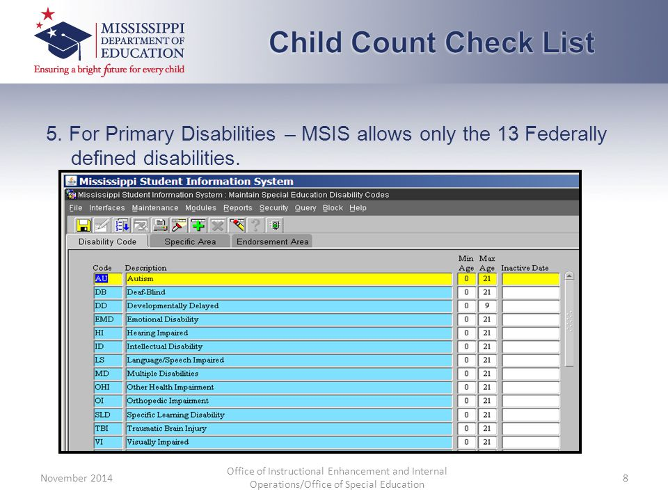 5. For Primary Disabilities – MSIS allows only the 13 Federally defined disabilities.