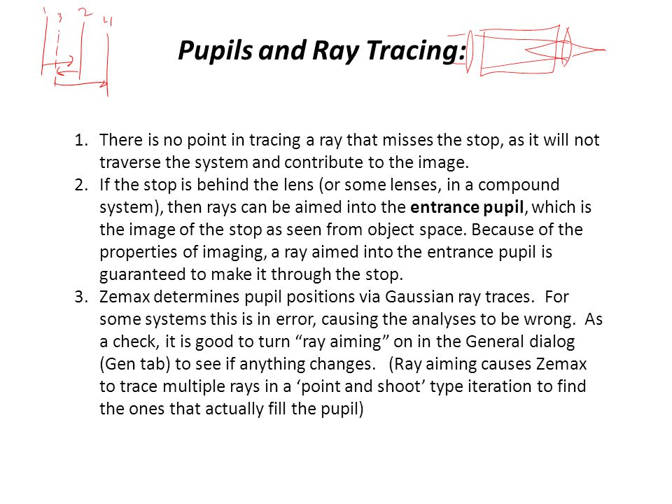 Pupils and Ray Tracing: 1.There is no point in tracing a ray that misses the stop, as it will not traverse the system and contribute to the image.