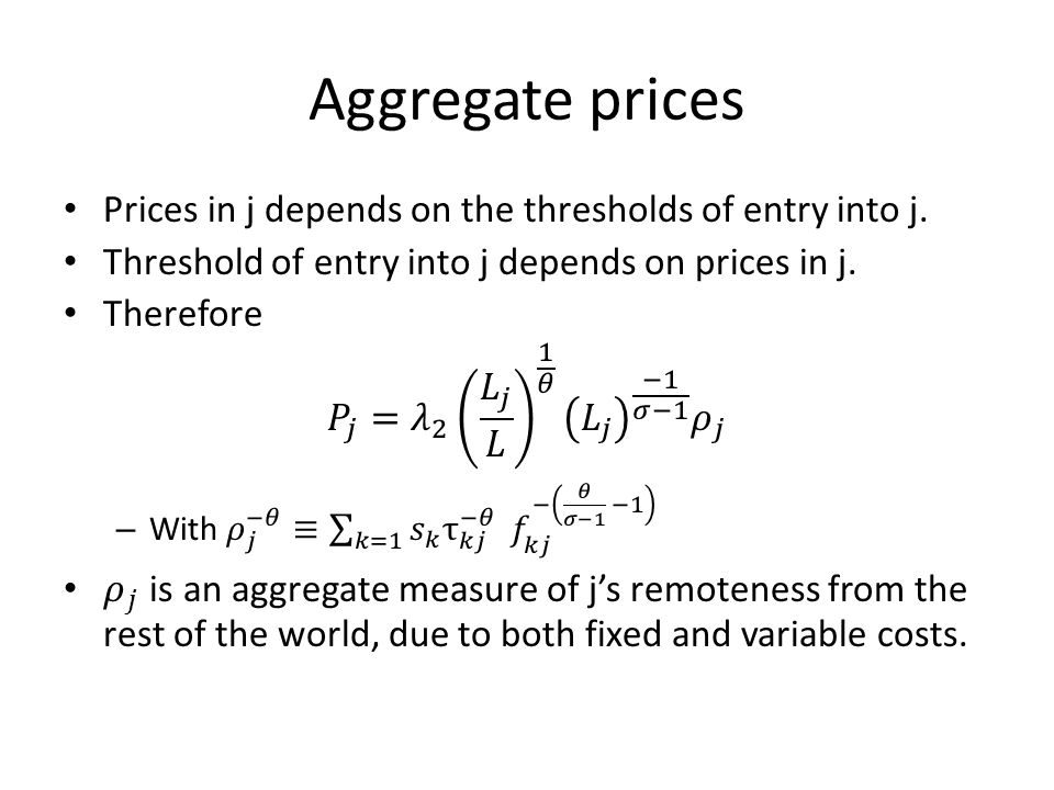 Aggregate prices