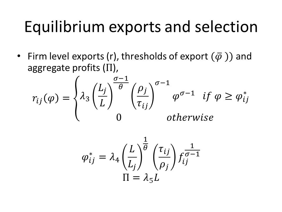 Equilibrium exports and selection