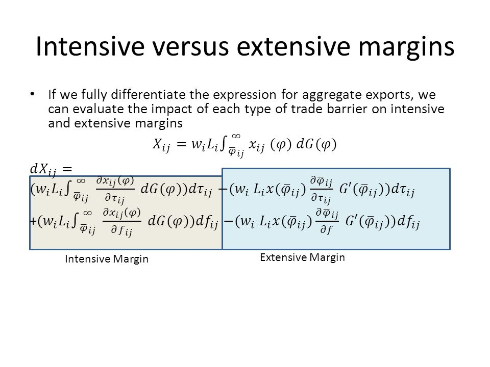Intensive versus extensive margins Intensive Margin Extensive Margin