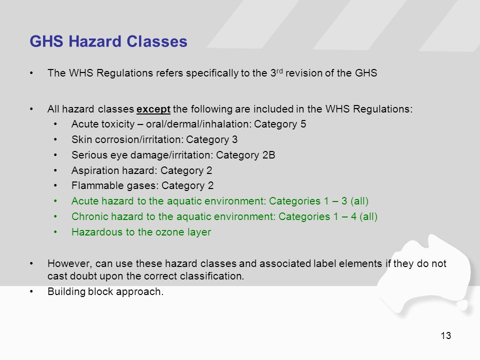 13 GHS Hazard Classes The WHS Regulations refers specifically to the 3 rd revision of the GHS All hazard classes except the following are included in