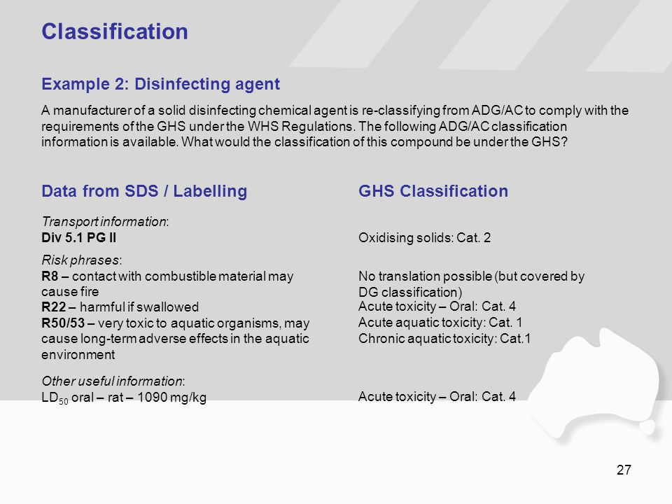 27 Classification A manufacturer of a solid disinfecting chemical agent is re-classifying from ADG/AC to comply with the requirements of the GHS under