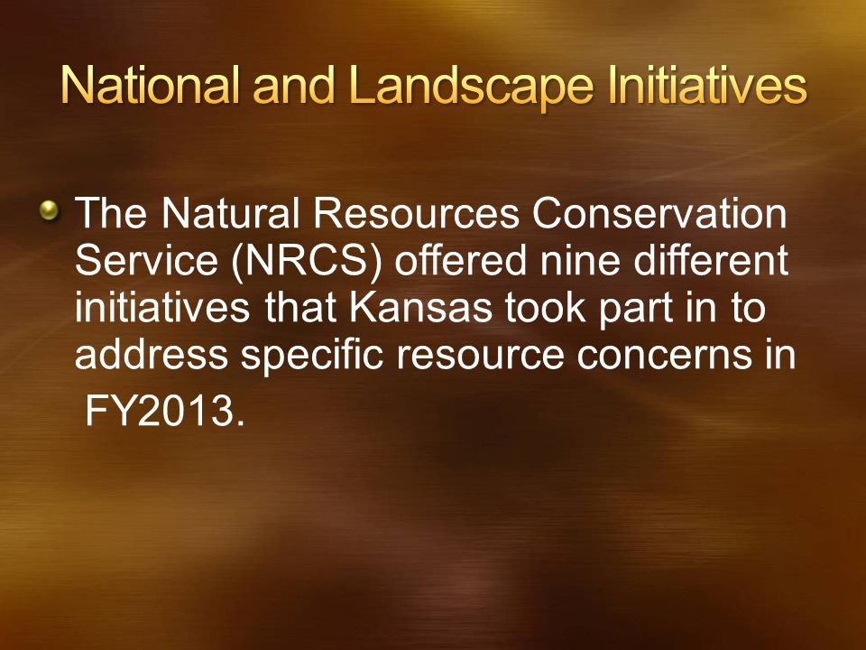 The Natural Resources Conservation Service (NRCS) offered nine different initiatives that Kansas took part in to address specific resource concerns in
