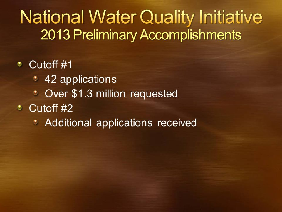 Cutoff #1 42 applications Over $1.3 million requested Cutoff #2 Additional applications received